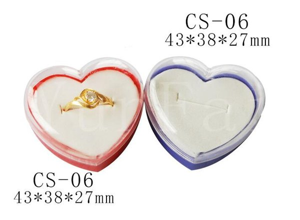 100pcs/lot Transparent Acrylic Ring Box Heart Shape Ring Storage Case Jewelry Boxes Jewelry Display Rack Gift Box Wholesale
