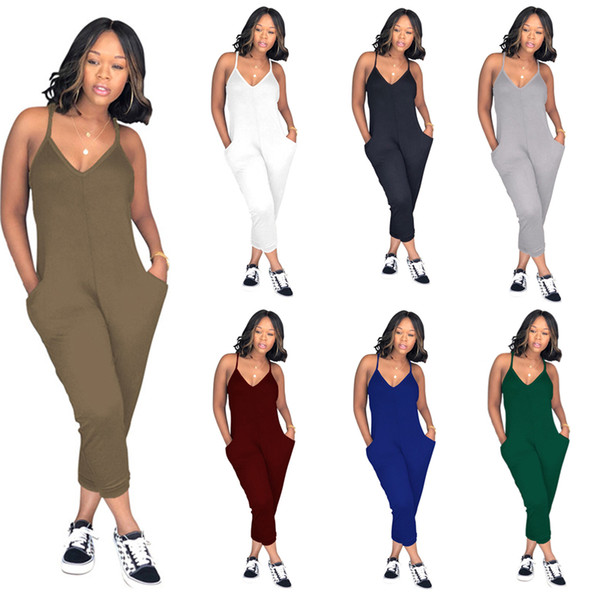 Women Suspenders Jumpsuits Solid Color Backless Rompers One Piece Overalls Summer Sleeveless Loose Jump Suit Woman Casual Clothes 3XL C51413