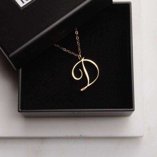 monogram English Initial Alphabet D Necklace tiny English Initial Letter D monogram charm Metal pendant necklace for Engagement