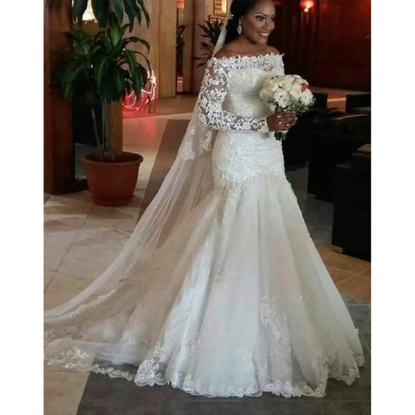 top popular Long Sleeves Wedding Dresses with Lace Appliques 2019 Court Train Mermaid Bridal Gowns Lace Up Wedding Gown Robe De Mariee 2020