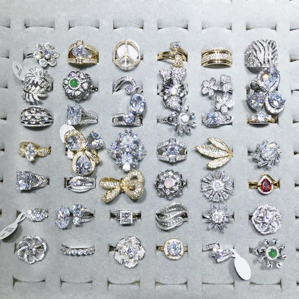 Anillos de diamantes de imitación grandes giratorios anillos de dedo Japón y Corea del Sur Tendencia Circón en forma de corazón Nuevas mujeres Anillos Micro Inlay Joyería al por mayor
