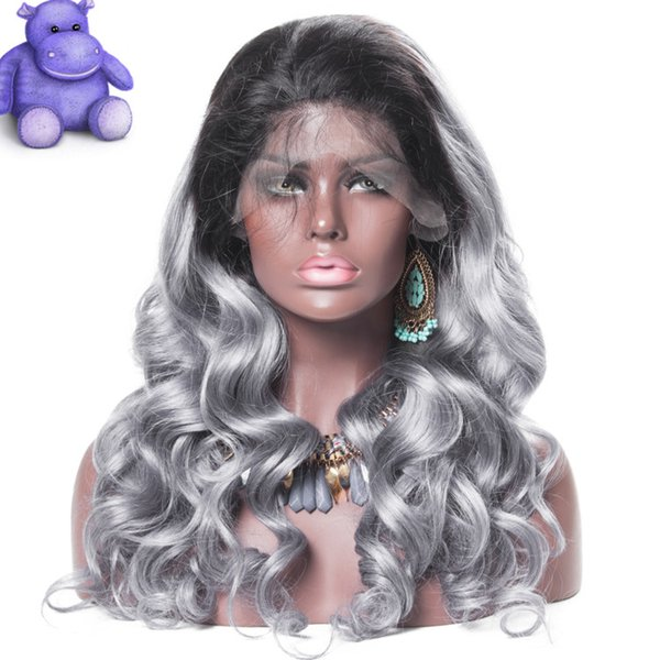 Pretty new arrival unprocessed best raw virgin remy human hair long sexy new grey big curly full lace wig for girl
