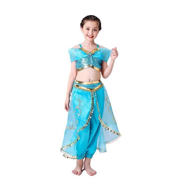 DHL Bebê meninas Aladdin Lâmpada Jasmim Princesa roupas crianças Cosplay Traje dos desenhos animados Crianças Fancy Dress para o Dia Das Bruxas festa de Natal C6811