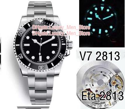 Topselling Super N Factory Watches V7 2813 Automatic Movement Ceramic Bezel Sapphire Glass 40MM Black dial Diving Glide buckle Mens Watches