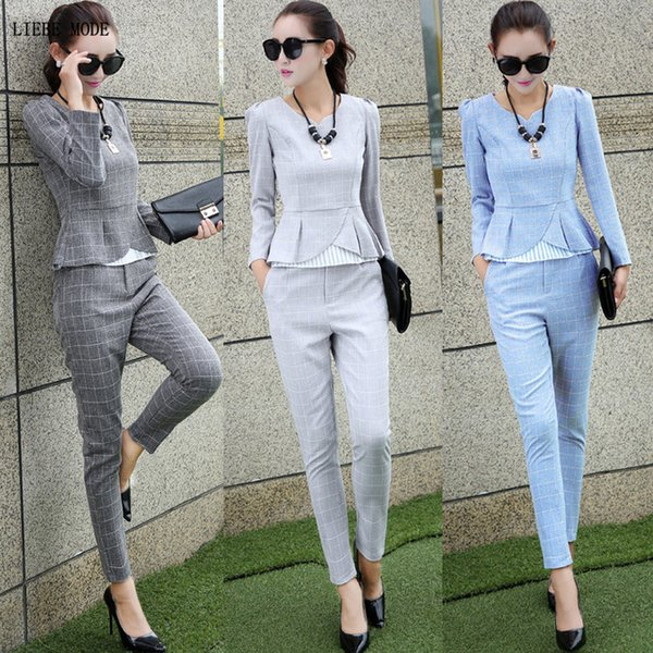 Women 2 Piece Set Crop Top and Pants Womens Blue Gray Plaid Elegant Long Sleeve Shirt and Trousers Suit Cotton Linen Outfits