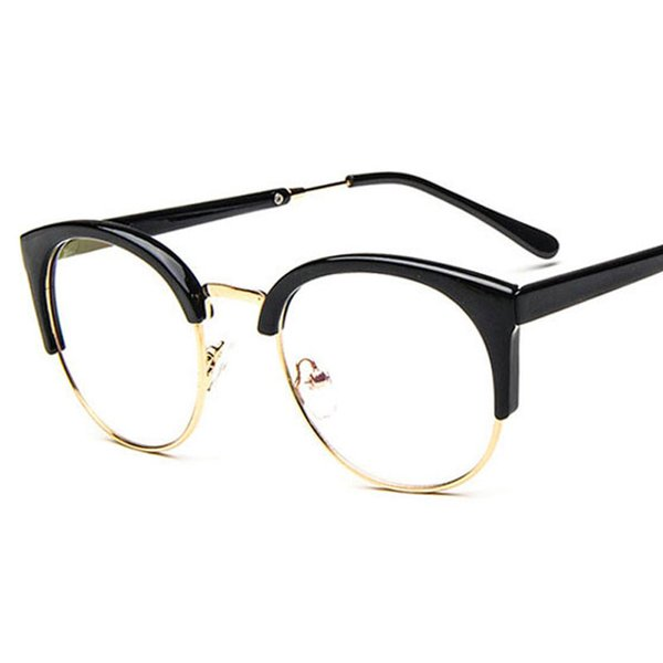 Luxury-women's eye glasses frame men Vintage metal round half frame Brand design eyeglasses Myopia Glasses spectacles Optical Clear Lenses