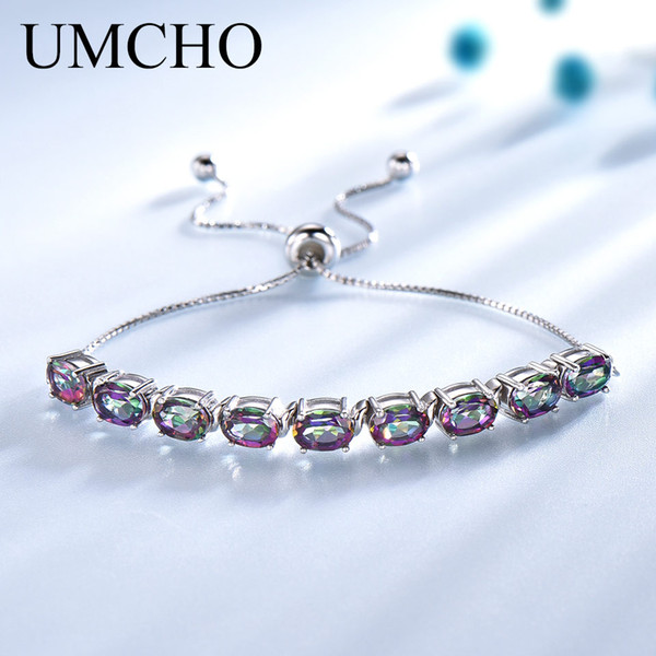 umcho genuine rainbow mystic z bracelets & bangles real 925 sterling silver bracelets for women expansion fine jewelry