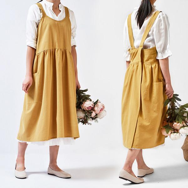 Grembiule da cucina in lino di cotone lavato medievale per la cottura del negozio di fiori da cucina Ruffles Grembiule pulito da lavoro per abito da donna uniforme