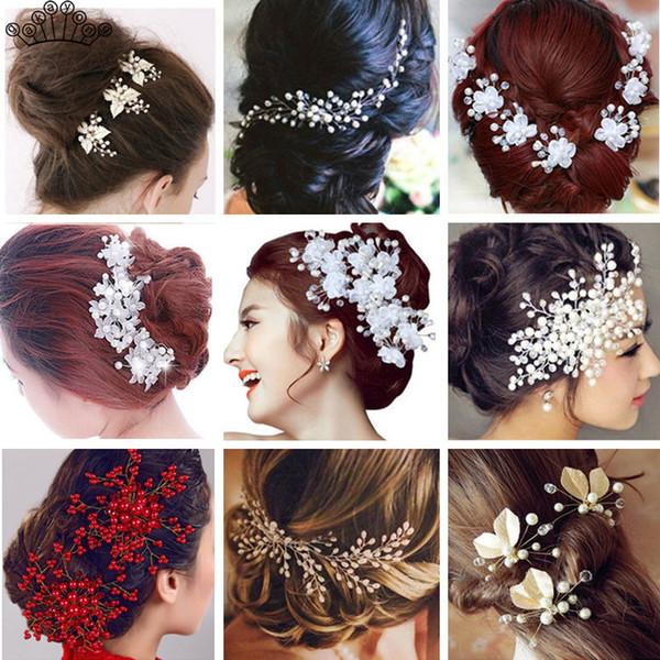 Kadınlar Saç Aksesuarları İnci Çiçek Tokalar Hairband Düğün Gelin Saç tarağı Saç klip Headdress Takı Hediye