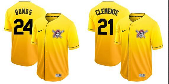 2019 Hot Style Men Women Youth Pirates 21 Clemente 24 Bonds 8 Stargell Yellow Elegant And Fashionable Cooperstown Batting Practice Baseball
