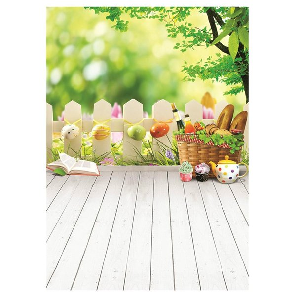 3x5ft (90x150cm) Easter Photo Studio Background Basket Colorful Eggs Photography Backdrop Wood Floor Photographic Backdrops