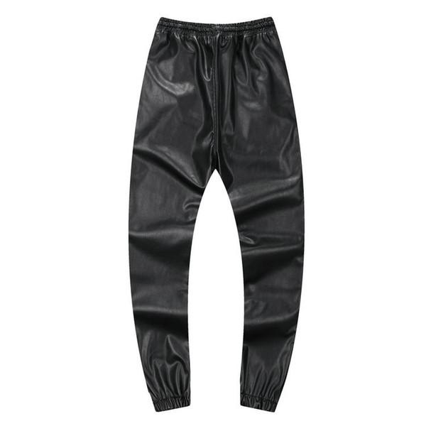 Осень зима мужчины хип-хоп танцевальные брюки искусственная кожа бегунов черный красный серебристый мужские бегунов повседневные спортивные штаны хип-хоп спортивные штаны размер 30-42