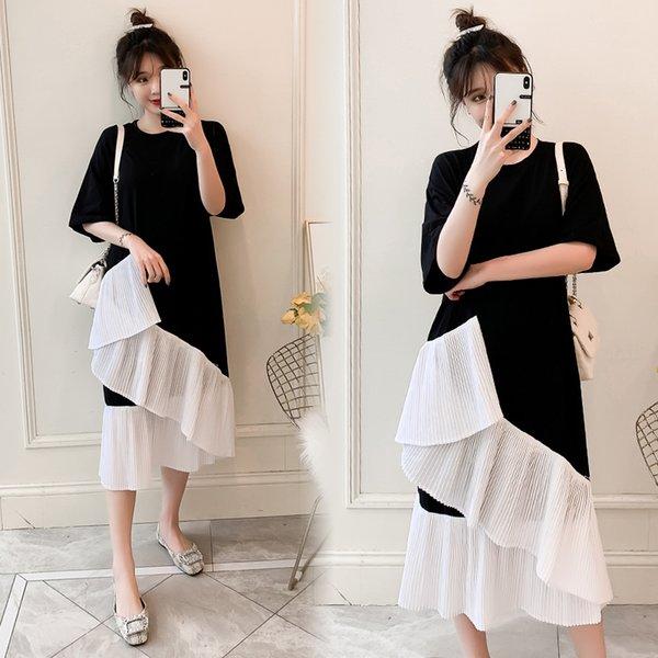 Thirteen.Women large-size paunch dress spring 2019 new fat mm foreign gas patchwork long paunch temperament fairy dress