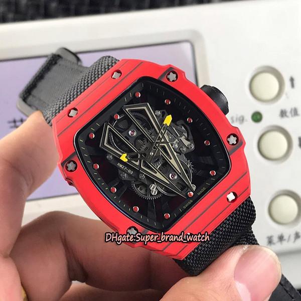Best Edition RM 27-03 Rafael Nadal NTPT Carbon Fiber Case Skeleton Dial Japan Miyota Mechanical 27-03 Mens Watch Nylon Leather Sport Watches