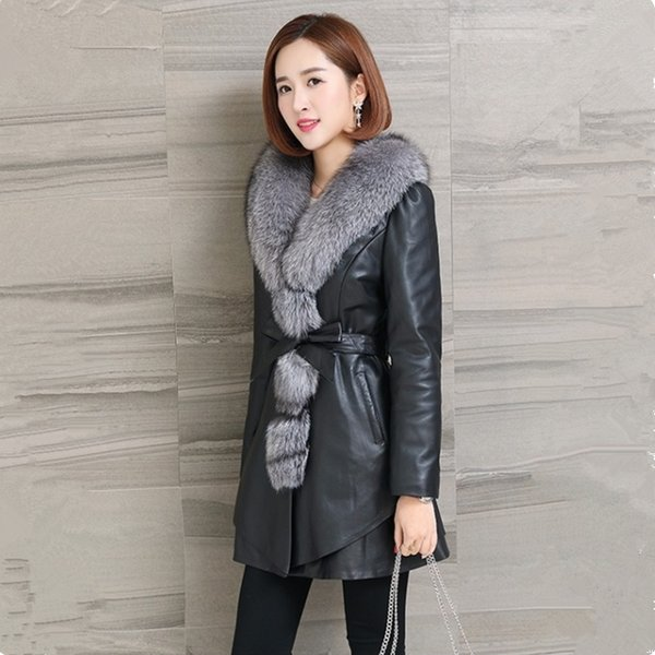 Pu-Leder-weiblicher Pelzmantel 2018 Herbst und Winter Neue koreanische Version war dünn und langer Abschnitt große 4XL-Lederjacke
