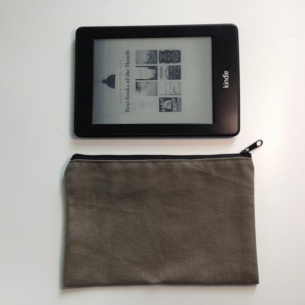 100pcs / lot 12oz storage bag handbag blank plain zipper cosmetic bag gray unisex kindle bag 7.75X5in