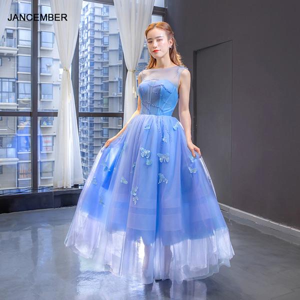 vestidos de fiesta J66907 jancember para apliques niñas sin mangas rebordear una línea de vestidos para ocasiones ilusión para las mujeres Vestido NOCHE