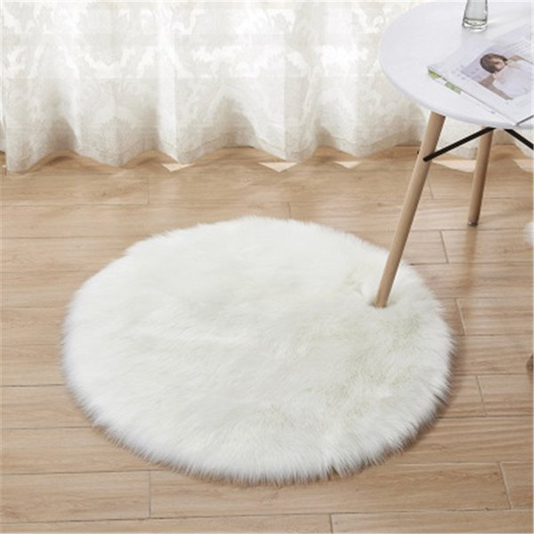 Round Carpets Artifical Long Hair Wool Carpets for Living Room Wedding White Floor Mat Rug Door Bedding Home Textiles Decor Wholesale H136