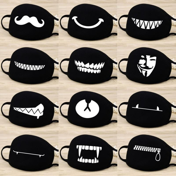 best selling Cotton Dust Mask Cartoon Expression Teeth Muffle Chanyeol Face Respirator Anti Kpop Bear Mouth Mask