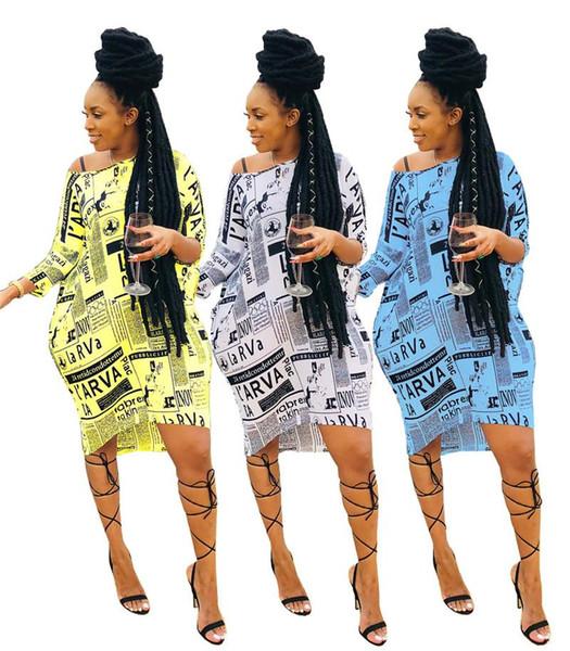 Periódico Imprimir Camisa Sexy Vestido de Un Hombro de Manga Larga Suelta Mini Vestido Casual Pendiente de Cuello Sin Espalda Más Tamaño Vestido NZK-1825