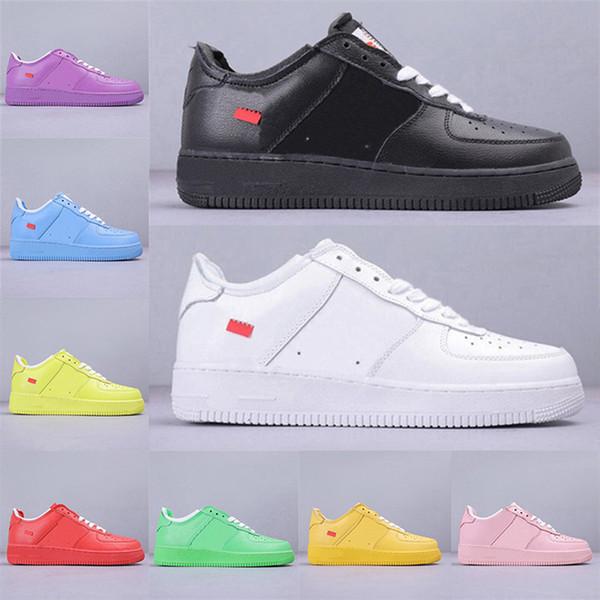 2019 En Yeni Tasarımcı Kuvvetleri Erkekler Düşük En Kaykay Ayakkabı Ucuz Tek Unisex 1 Örme Euro Kadınlar All Beyaz Siyah Kırmızı Hava Koşu ayakkabıları