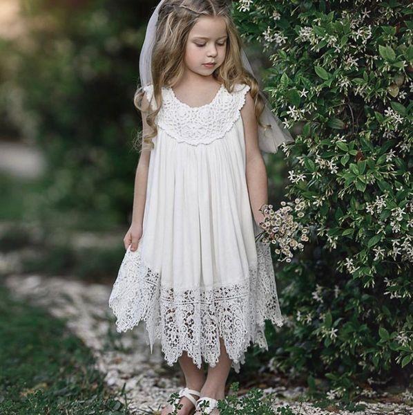 INS New Summer kids lace dresses baby girls lace hollow falbala collar vest dress white crochet Children tassel princess dress C4224