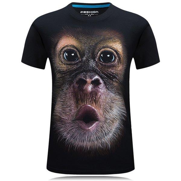 2019 neue Explosionsmodelle 3D-Kurzarm-Herren-T-Shirt Stereo dominierend Persönlichkeit Rundhals-T-Shirt hat XL - Big Face Orang-Utan