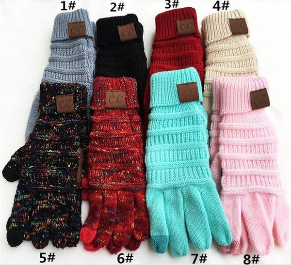 best selling CC Knitting Touch Screen Glove Capacitive Gloves CC Women Winter Warm Wool Gloves Antiskid Knitted Telefingers Glove Christmas Gifts