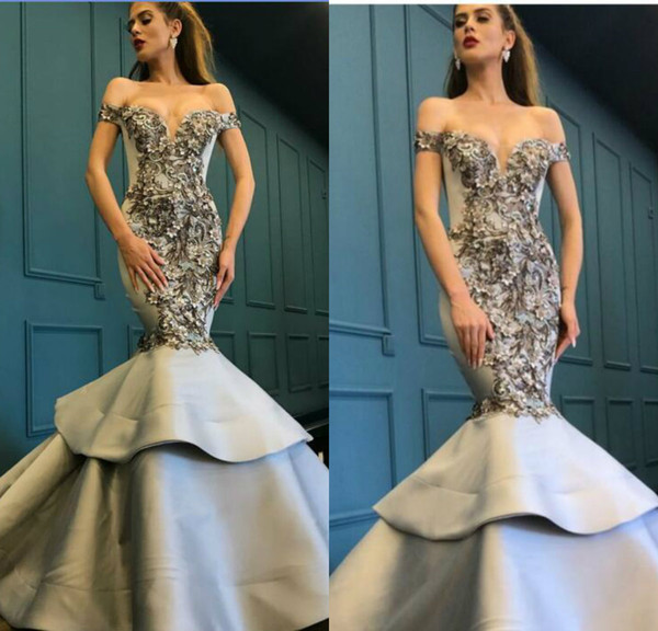 Zuhair Murad Silver Evening Dresses Off The Shoulder Lace 3D Floral Appliqued Tiered Skirt Floor Length Prom Dress Formal Party Gowns