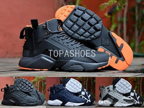Wholesale New Arrival Huarache 6 X Acronym City Mid Zipper Leather High Top Huaraches Running Shoes Men Warm Winter Boots 40-45