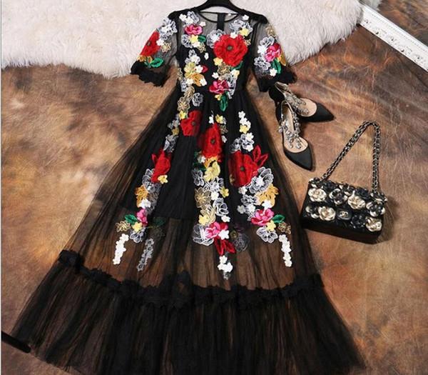 럭셔리 드레스 새로운 2018 여름 패션 디자이너 새로운 우아한 꽃 자수 아플리케 블랙 메쉬 슬림 여성 빈티지 롱 드레스 Y19051102