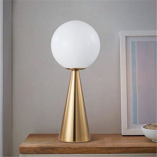 JESSPostmodern Bedside Art Table Lamp Creative Cone Golden Glass Bedside Bar Cafe Livring Room Decoration Lamp Free Shipping110V `260V