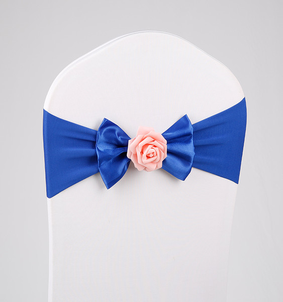 New Rose flower No-tie Bow Backs Bowknot Elastic Spandex Wedding Chair Cover Sashes Party Banquet Decoration Decor