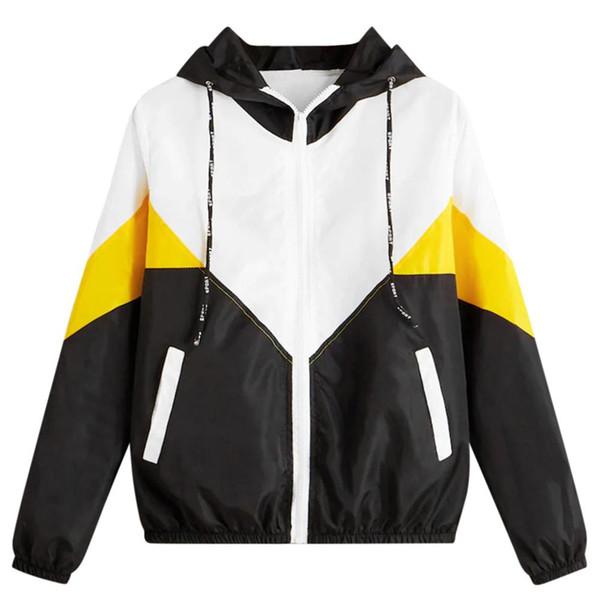 Hxroolrp Damen Laufsport Mantel-beiläufige Exercise-Langarm Zipper-Farben-Block-Patchwork-dünne Jacken mit Kapuze für Frauen