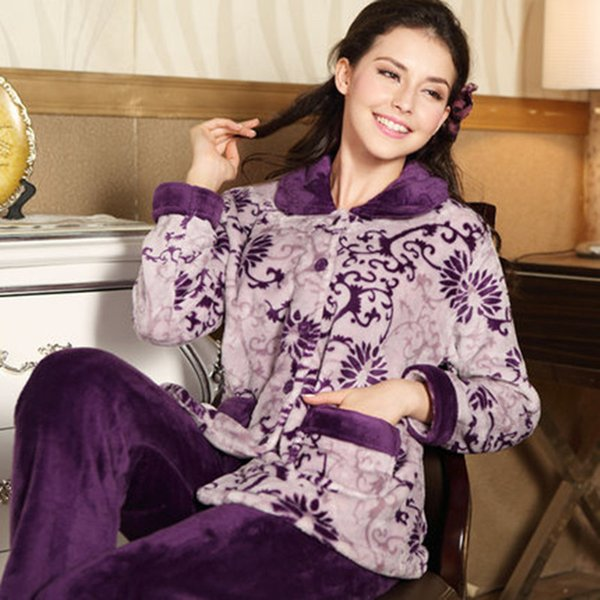 Hot Sale Autumn Flannel Women Pajamas Sets Female Turn-down Collar Full Sleepwear For Women's Pajamas Winter Home Suits Pyjama J190517
