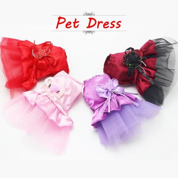 New Summer Cute Pet Dog Skirt Mini Dress Wedding Dress Pet Clothing Red Burgundy Purple Pink Size XXS XS Clothes For Dog Apparel