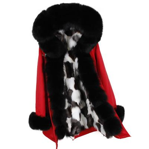 maomaokong brand Women snow coats black fox fur Threshold Lavish fox fur trim 100% real white black lattice fox fur lining red long parkas
