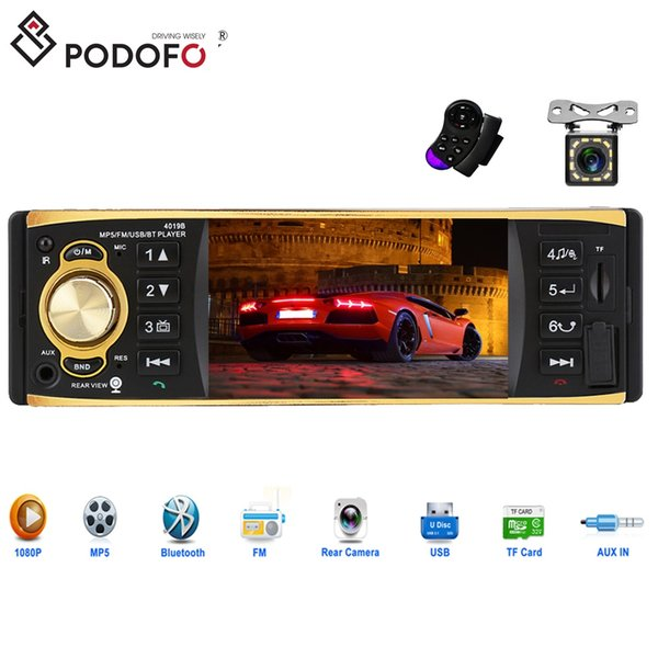 Podofo 4'' TFT Screen 1 Din Car Radio Audio Stereo MP3 Car DVD Audio Player Bluetooth + 12 LED Rearview Camera Remote Control