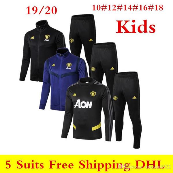 19 20 nouveaux Man United Survêtement 2019 2020 Manchester Pogba kit de formation garçons enfant Rashford MAGUIRE sportswear veste à manches longues