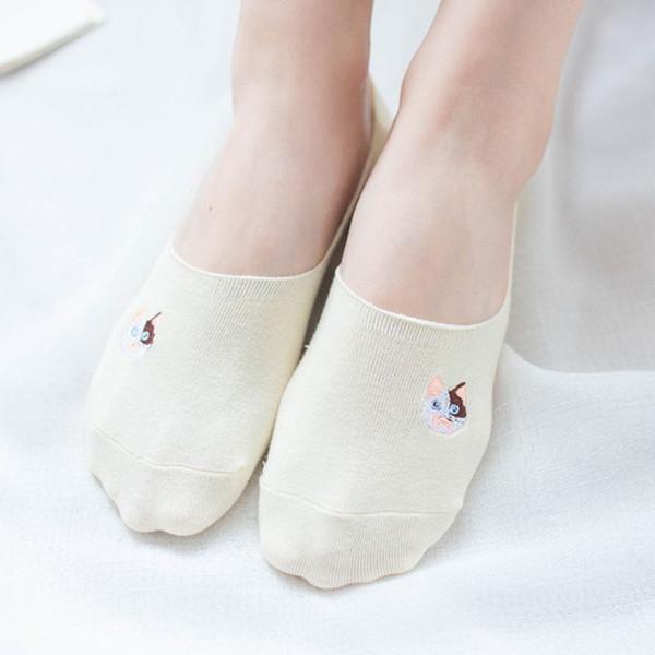 Yaz Kadın Kız Görünmez Kısa Tekne Çorap Sevimli Miyav Kedi Işlemeli Baskı Taban Düz Düz Renk Rahat Pamuklu Çorap