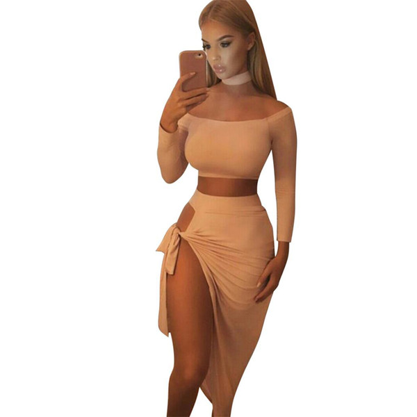 2 Piece Set Women Skirt+Long Sleeve Top Sexy Two Piece Set halter slash neck shirt top+mini Skirt Autumn Party Women Suit