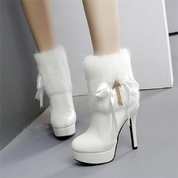 2019 Luxury Women platform white Boots 10cm High Heels Fetish Winter Warm Boots Stiletto Ankle Fur Plush Stripper Shoes