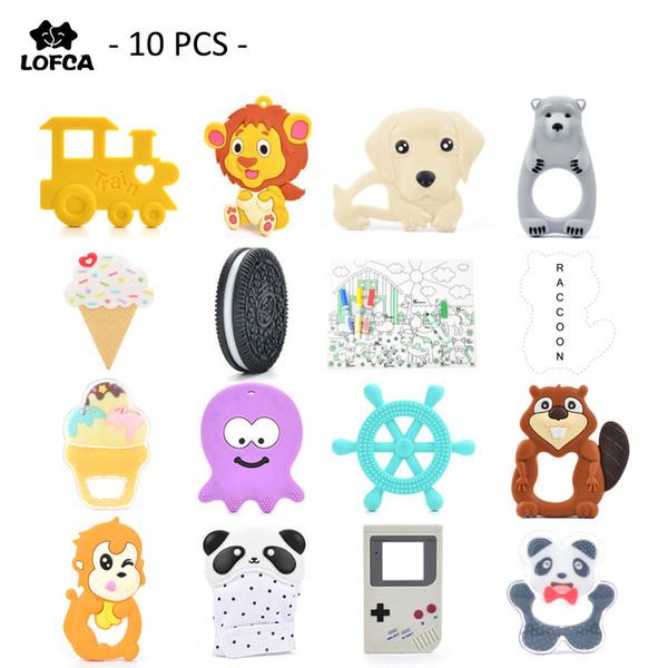 10 peças / lote silicone bebê mordedor pinguim dentição macaco pingente de brinquedo guaxinim girafa colar para silicone leão elefante mx190730