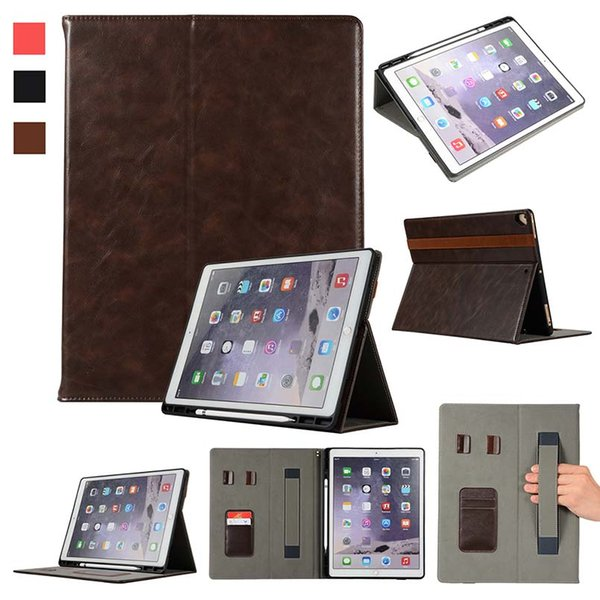 Classic Half Genuine Leather Tablet Case For ipad pro 10.5 11 12.9 With Built-in Pen Slot stand Shockproof Dormancy Shell Case