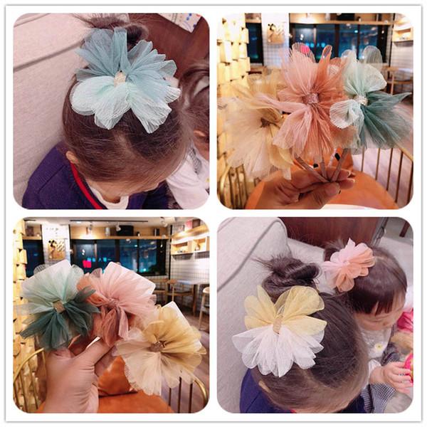 Fashion lace large hair bows girls hair clips Boutique princess girls designer headband Flower designer headbands kids Barrettes A5431
