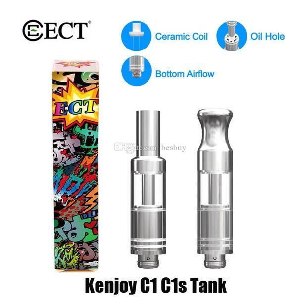 100% Orijinal ECT Kenjoy C1 C1S Kartuş 0.5 ml Seramik Cam Kalın Yağ Dab Wax Buharlaştırıcı Atomizer 510 Konu Vape Pil Tankı Orijinal
