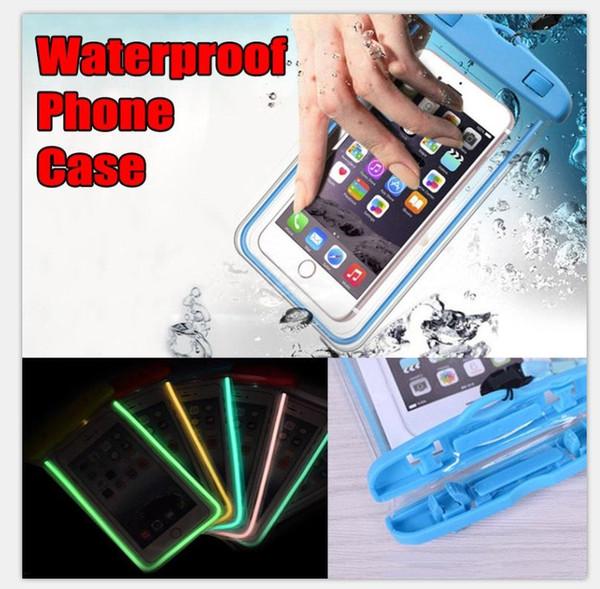 Boîtier étanche Sac Sac de téléphone Cas lumineux Téléphone Pouch Preuve de l'eau Cas piscine de plongée sous-marine pour Smart Phone jusqu'à 5,8 pouces