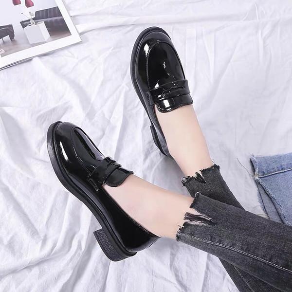 Damen Lederschuhe Damen Sandalen Freizeitschuhe Britischer Stil Mit Schwarzem Weinrot 3.0cm Absatz