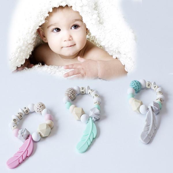Bebek Diş Çıkarma Oyuncak Silikon Eğitim Bebek Bilezik Diş Sakız Tığ Tüy Çiğneme Oyuncak Hediyeler Boncuk Emzik