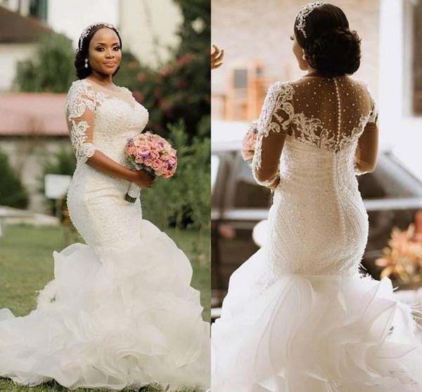 Luxo Tamanho Cascading Organza Ruffles Sul Africano mais vestidos de noiva sereia apliques Sheer meia manga Beads Longo Vestidos de novia
